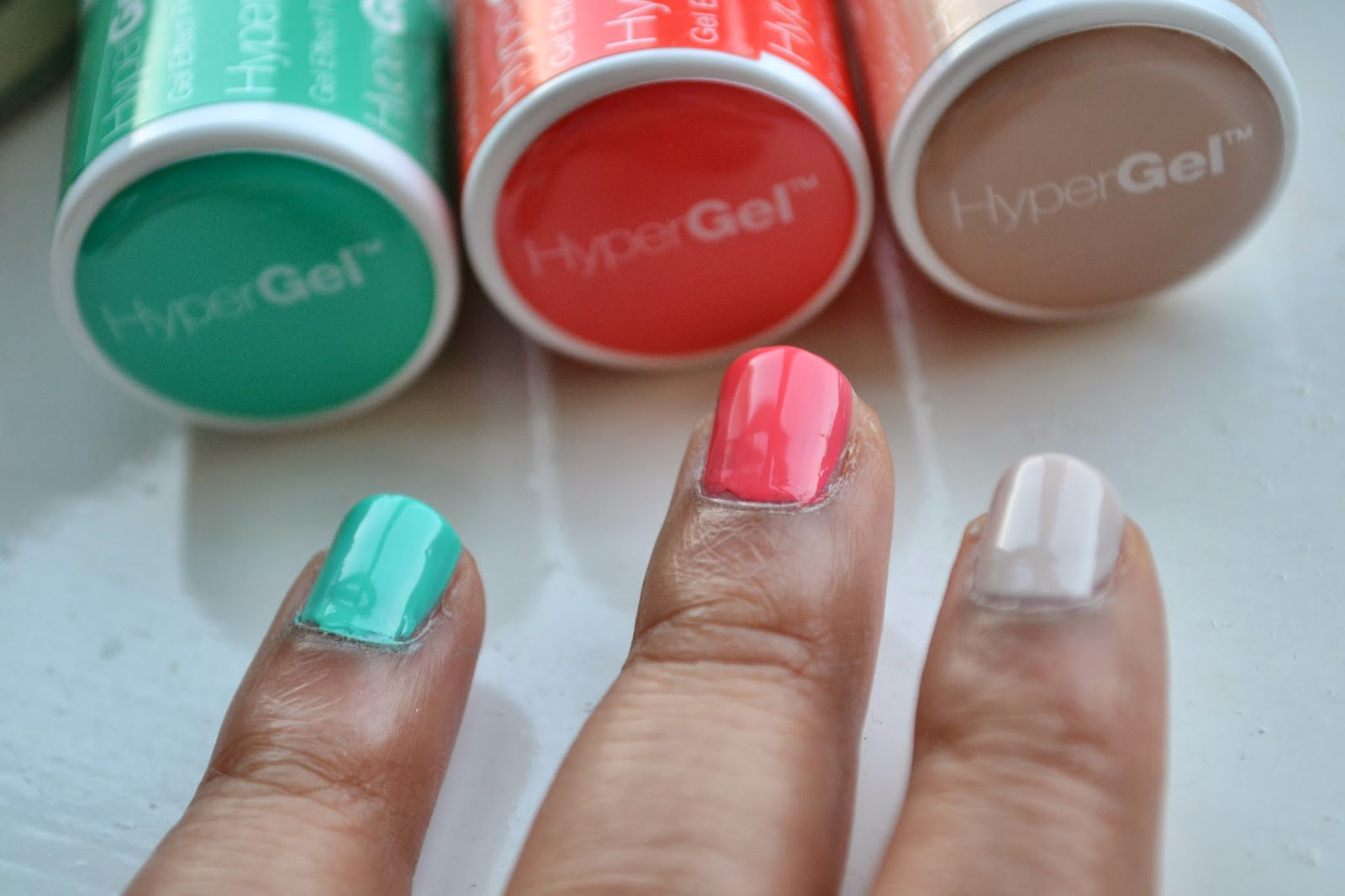 Models Own Hypergel Nail Polish Naked Glow, Coral Glaze, Turquoise Gloss Swatch - Beauty by Eff