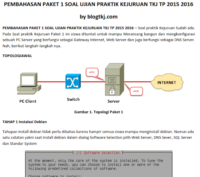 Modul Pembahasan Soal UKK TKJ 2016 Paket 1 Gateway Internet, Web Server dan DNS Server OS Debian Server 4
