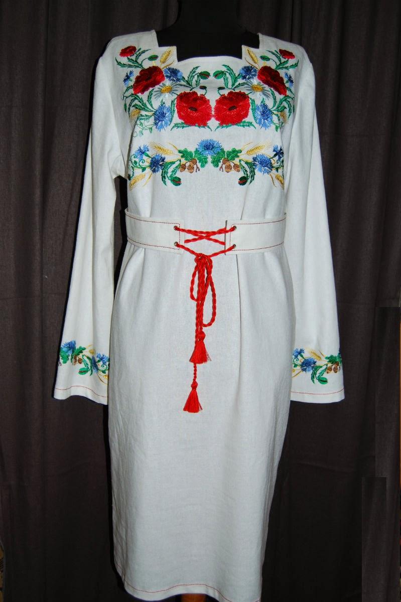 Вышитое платье - машинная вышивка гладью