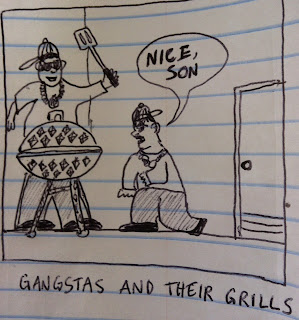 gangstas are checking out their diamond studded grill