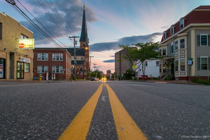 Portland, Maine USA Cumberland Avenue street level view in August 2015 at sunset photo by Corey Templeton.