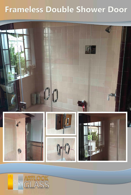 frameless double shower door