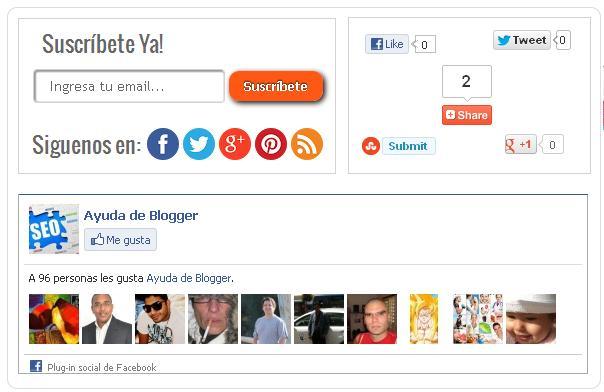 Caja de suscripciones caja de seguidores de Facebook y redes sociales para blogger