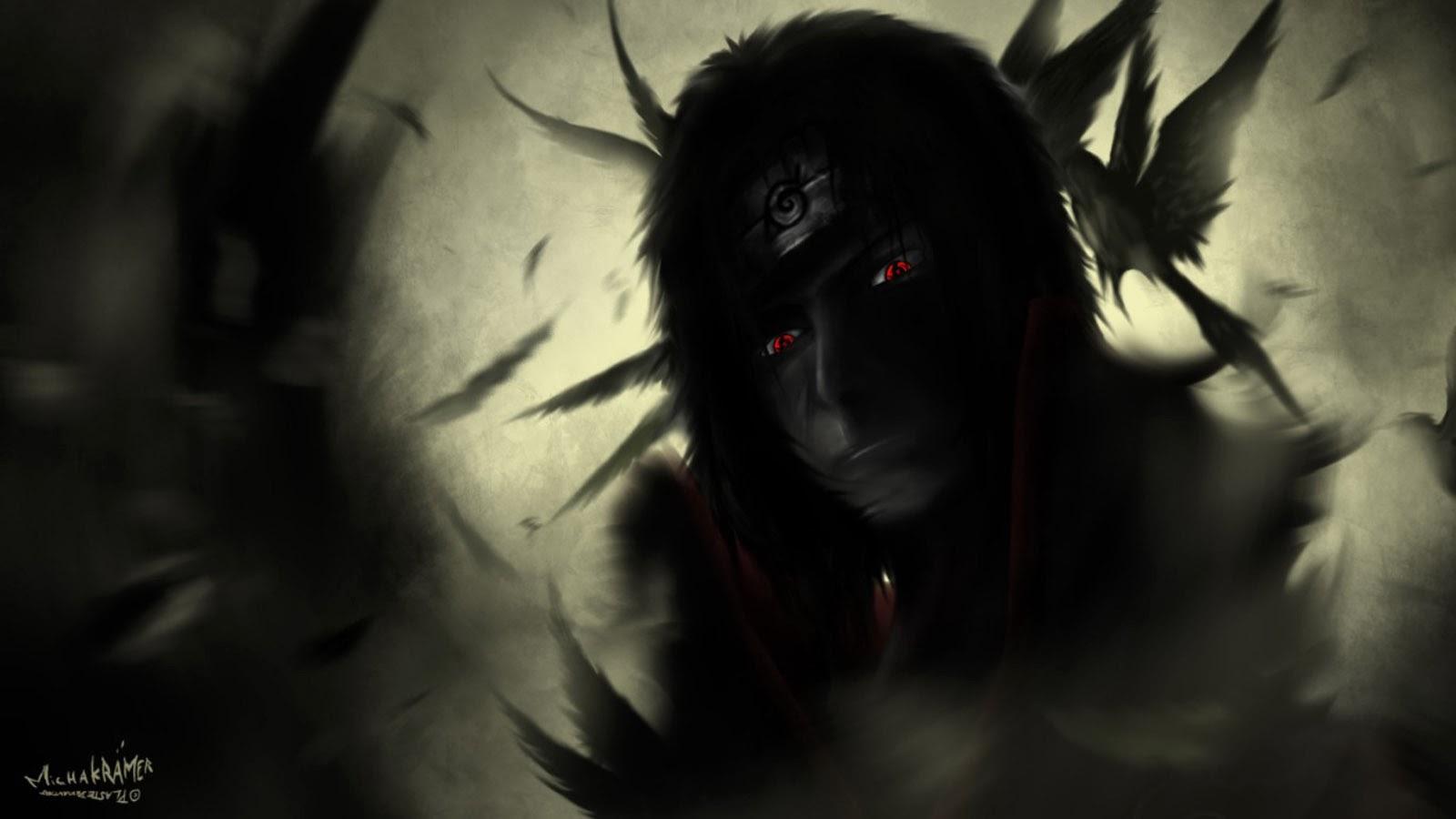 uchiha itachi sharingan eyes hd wallpaper anime 1600x900 a430 Itachi Crows Wallpaper