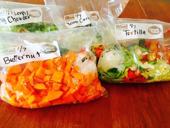 Vegetables in Freezer bags