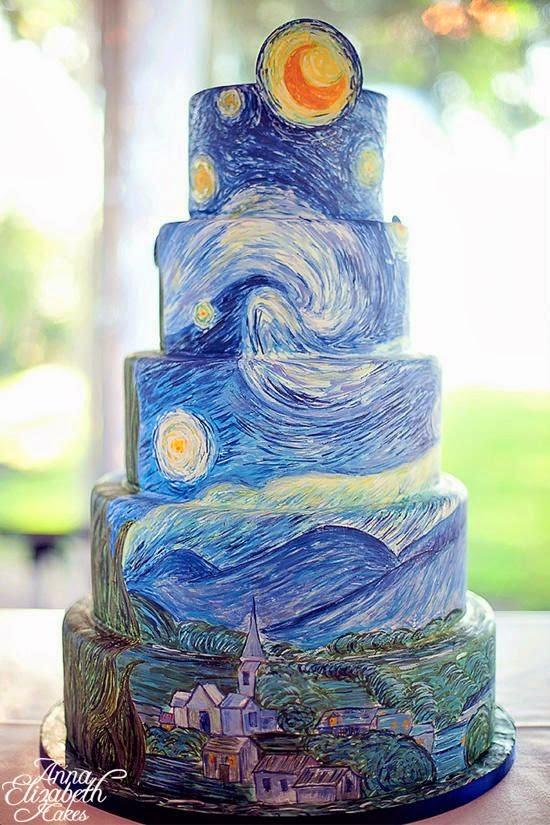 Noche estrellada de van gogh tartas originales ideas y - Ideas originales para fiestas de adultos ...
