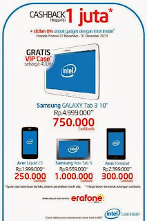 Promo Ponsel dan Tablet Intel Inside November - Desember 2013