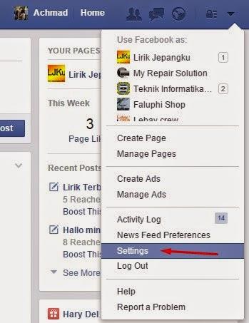 klik settings atau pengaturan
