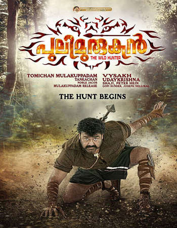 Poster Of Pulimurugan In Dual Audio Hindi Malayalam 300MB Compressed Small Size Pc Movie Free Download Only At worldfree4u.com