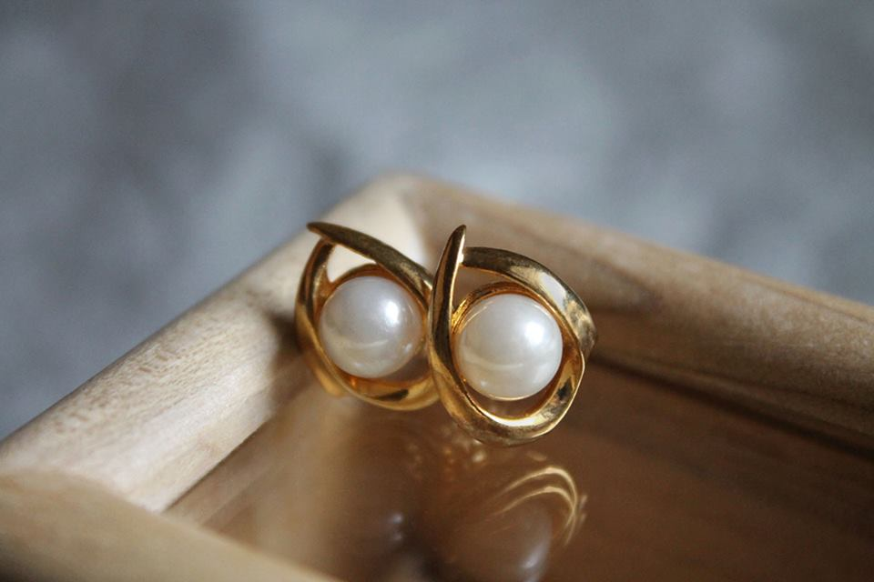 Titan Silver&Gold, pearl, earrings, jewelry