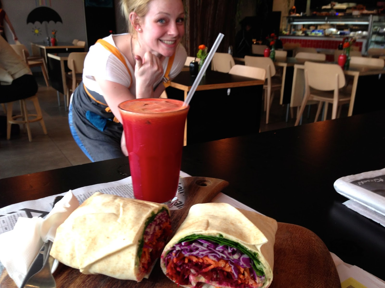 Argo on the Square, Adelaide - vegan wrap and juice