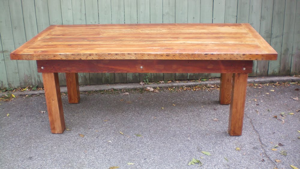 wooden harvest table with natural stain junction harvest table