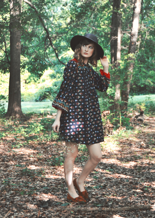 The Flying Clubhouse: The Woods at the Edge of the Meadow // vintage 70s dress