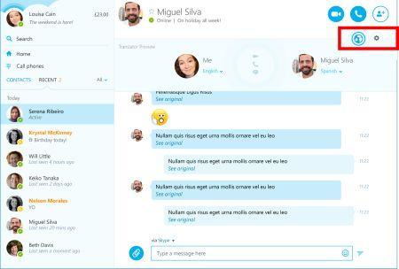 قامت شركة مايكروسوفت بدمج خاصية الترجمة في تطبيقها سكايب السطح المكتب بحيث يقوم التطبيق بترجمة المُكالمات الصوتية و مُكالمات الفيديو إلى ست لغات و الرسائل الفورية إلى خمسين لغة