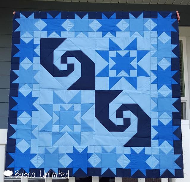 BabcoUnlimited.blogspot.com -- Mystery Quilt, Modern Quilt, Blue Quilt