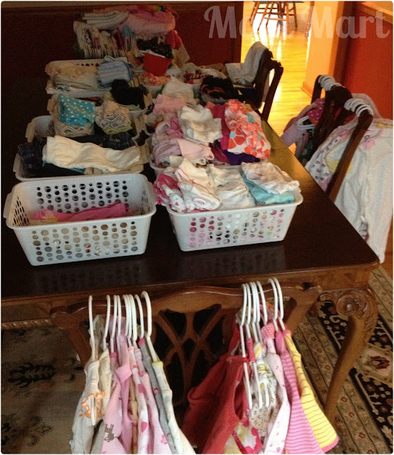 cleaning and organizing the baby clothes