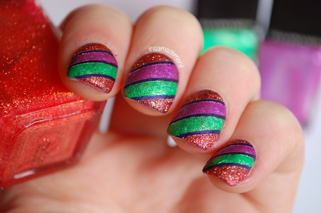 Halloween Striped Nail Art