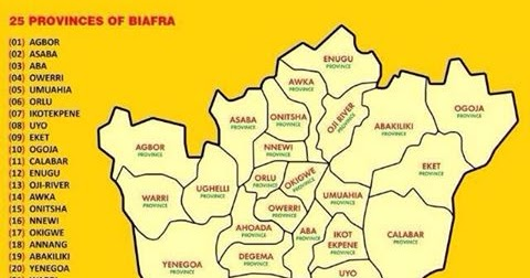 Current Map of Biafra With 25 Provinces
