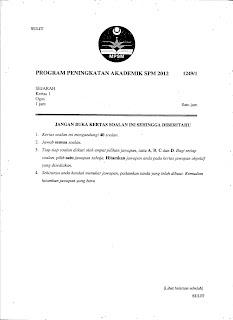 Percubaan SPM Negeri Kedah Kertas 1 untuk tahun 2012. Jawapan akan