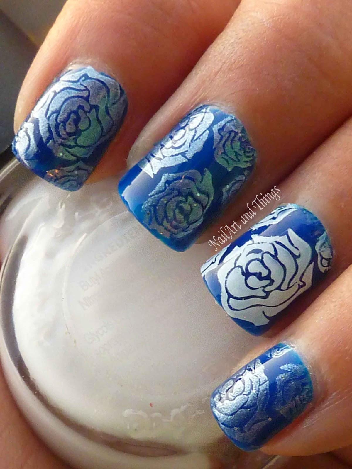 NailArt and Things: Blue Roses Porcelain Nail Art (Jelly polish)