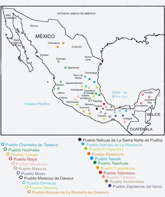 ... obserbar un mapa de la republica mexicana con las etnias que tenia