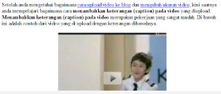 Menyesuaikan Letak Video di Artikel