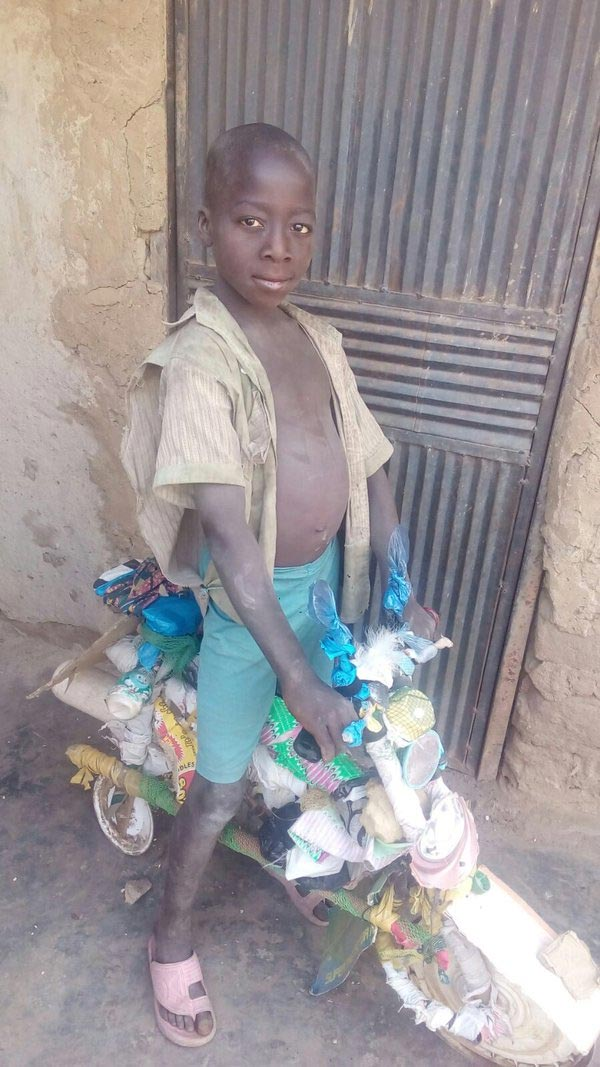 Oh My! Check Out The Home-made Bicycle Constructed By This 5-year-old Nigerian (Photos)