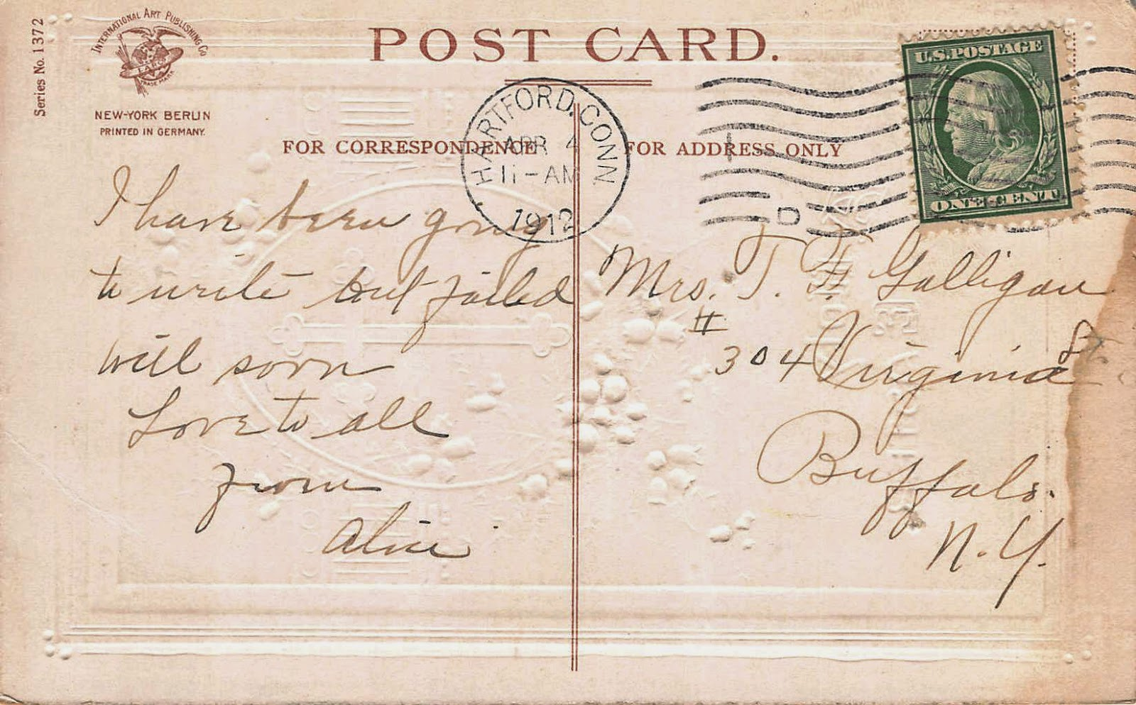 Olive tree genealogy blog easter postcard buffalo new york 1912 easter card to mrs t f galligan 304 virginia st buffalo new york from alice 1912 fandeluxe Gallery