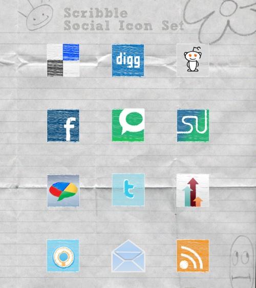 Exclusive Scribble Social Media Icon Set and Tutorial