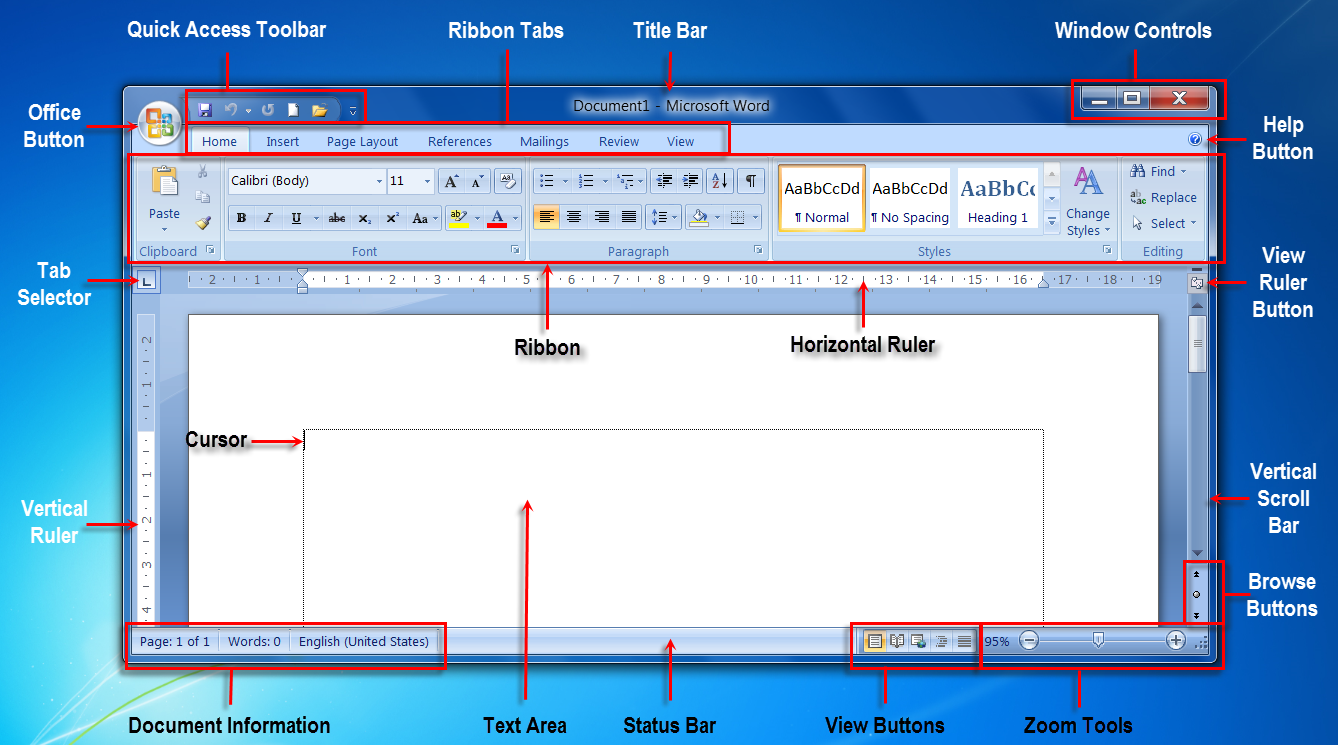 ms word interfacems word programme window