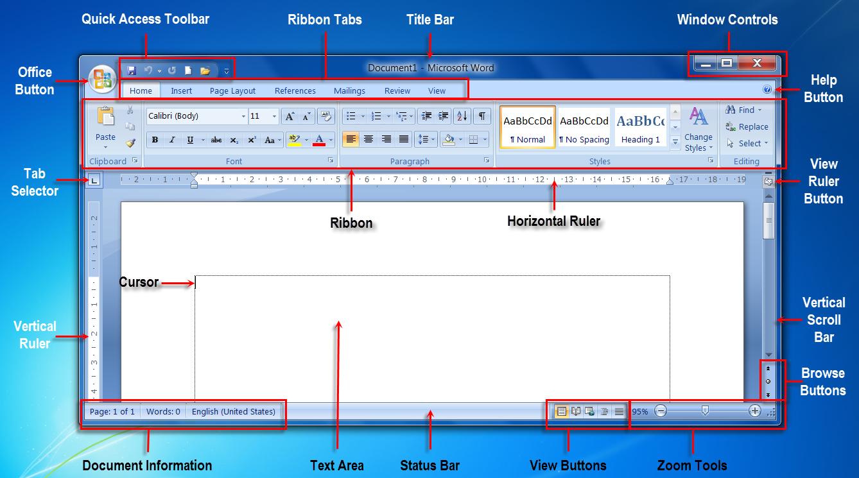 ms word interfacems word programme window