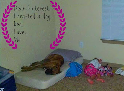dog takes over bed, toddler sleeping on floor, diy dog bed