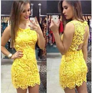 modelo de vestido de renda amarelo - looks e fotos