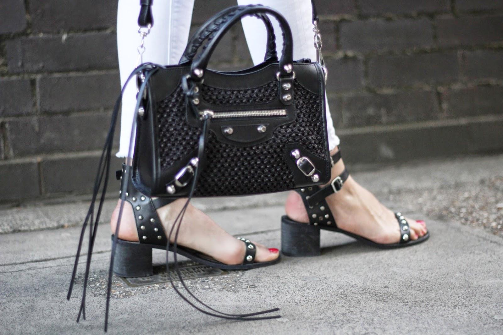 balenciaga mini city bag, balenciaga bag, balenciaga street style, kurt geiger, kurt geiger sandals, kurt geiger heels, white jeans