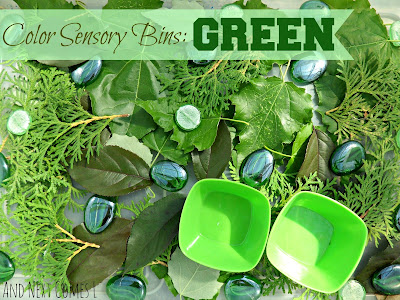 Color sensory bins: green from And Next Comes L