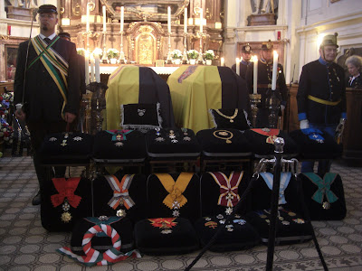 Archduke Otto and Archduchess Regina lying in state in the Capachin Church in Vienna