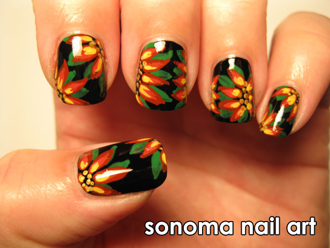 Sonoma Nail Art: Poinsettias Inspired by Robin Moses