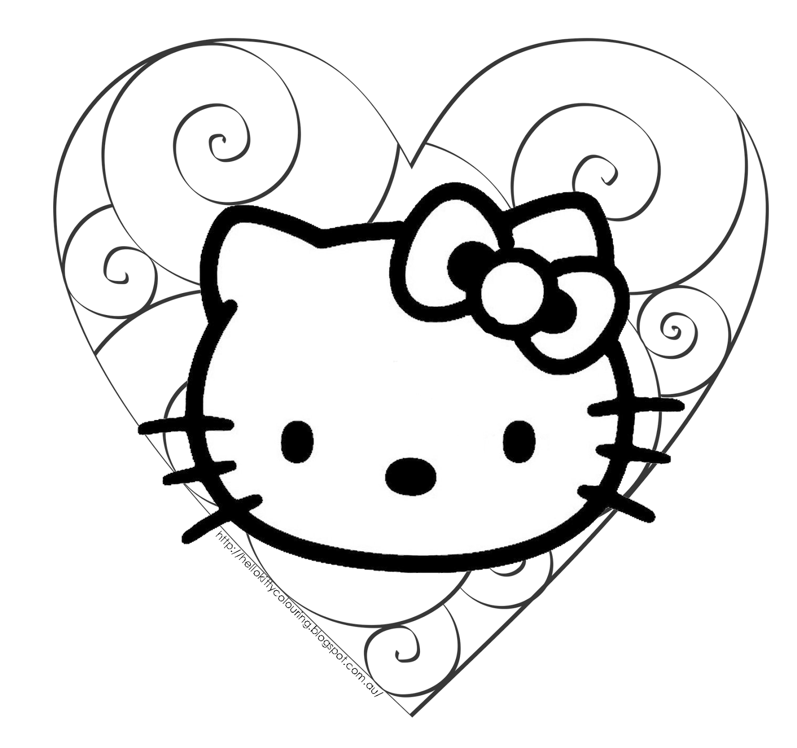 hello kitty valentine coloring page