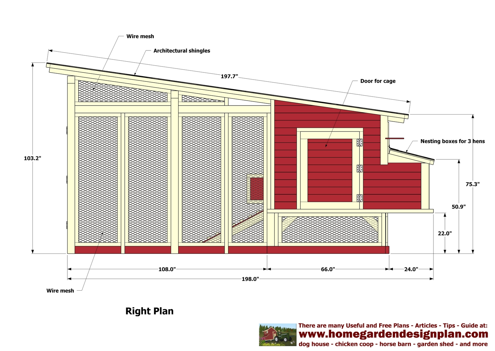 Home garden plans m100 chicken coop plans construction for Plans for a chicken coop for 12 chickens