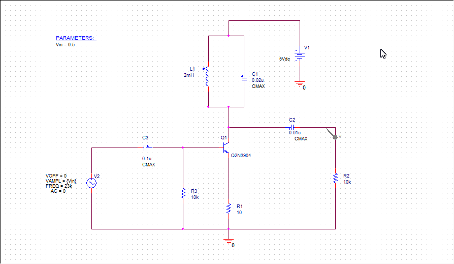 Class C Power Amplifier circuit with Voltage Parameter Sweep