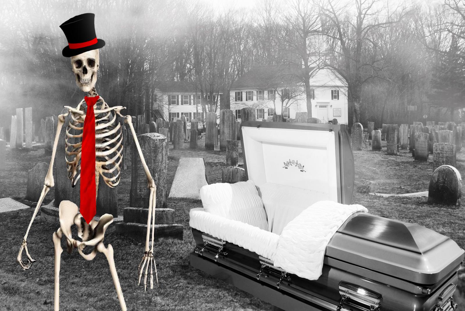 A dead man wearing a necktie