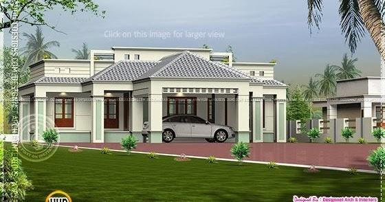 Single floor home with center car porch home kerala plans for Car porch design in kerala