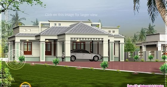 Kerala home design and floor plans single floor home with for Car porch design in kerala