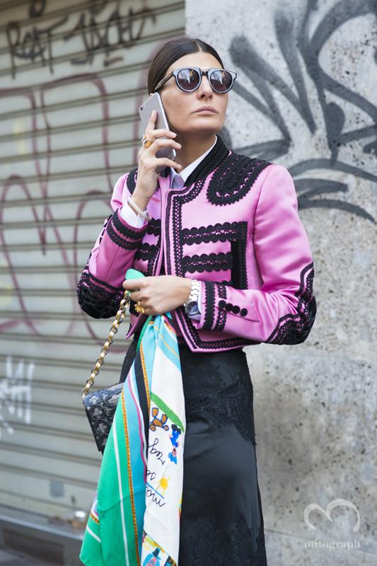 Giovanna Battaglia at Dolce and Gabbana 2015-2016 Fall Winter show during Milan Fashion Week MFW