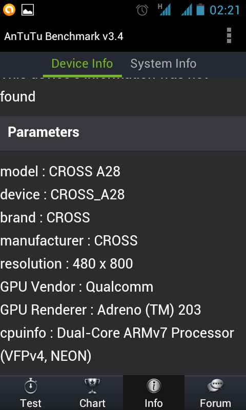 GPU Vendor: Qualcomm, GPU Renderer: Andreno (TM) 203, CPU: Dual-core