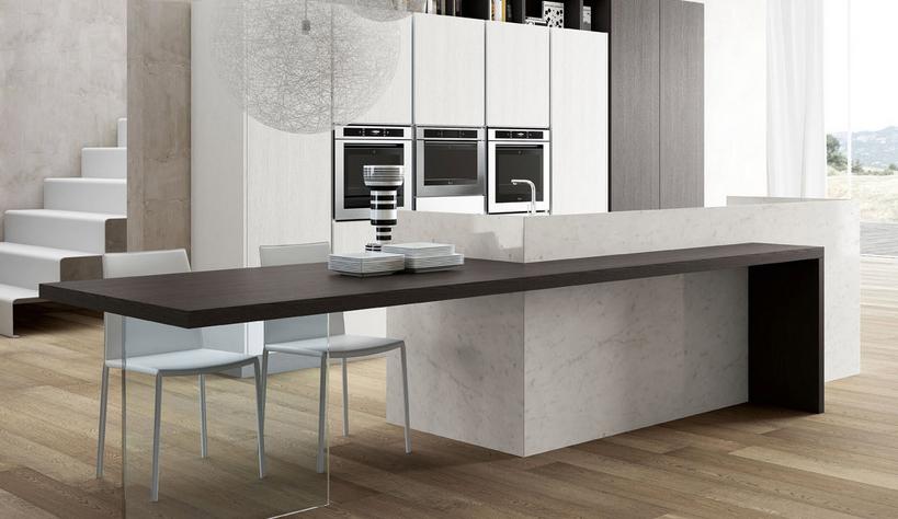 20 formas de incorporar una mesa en la cocina cocinas for Isla de cocina con mesa