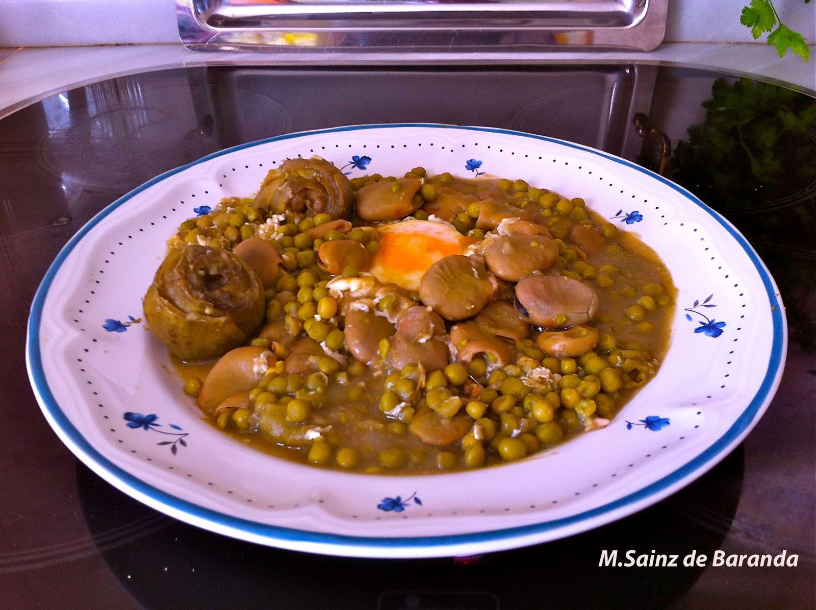 La cocina en el sur habas con alcachofas guisantes y huevo - Habas frescas con jamon ...