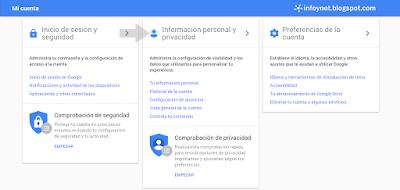 Panel de opciones de configuración de Mi Cuenta de Google
