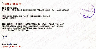 100th birthday telegram from Queen Elizabeth II