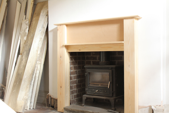 new wooden fireplace DIY